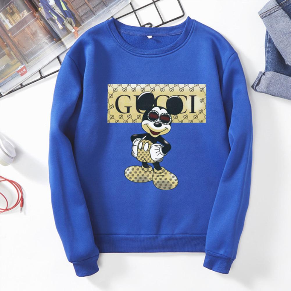 Men Sweatshirt Cartoon Micky Mouse Autumn Winter Loose Couple Wear Student Pullover Blue_L