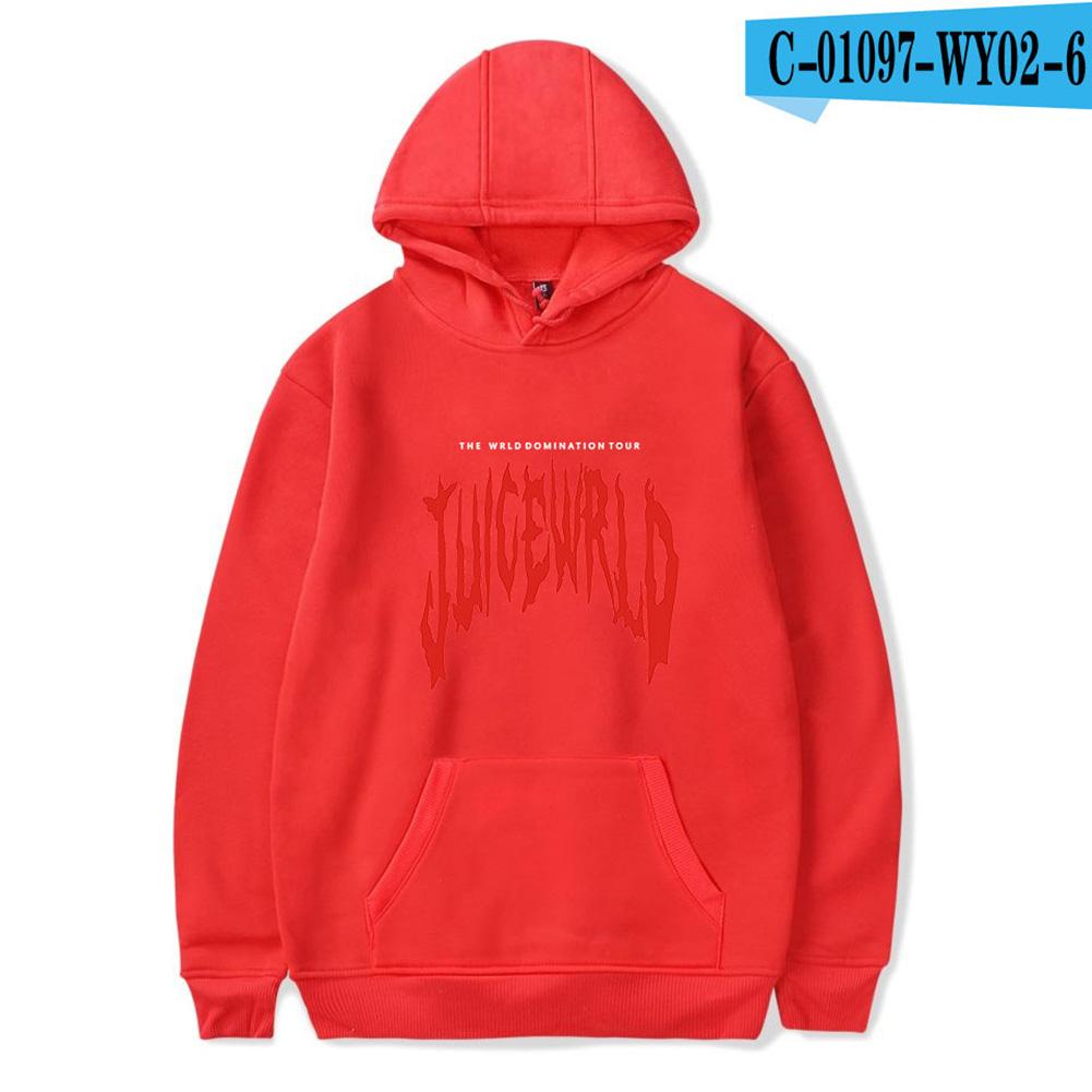 Men Women Juice WRLD Hoodie Sweatshirt Letter Printing Autumn Winter Loose Pullover Tops Red_XL