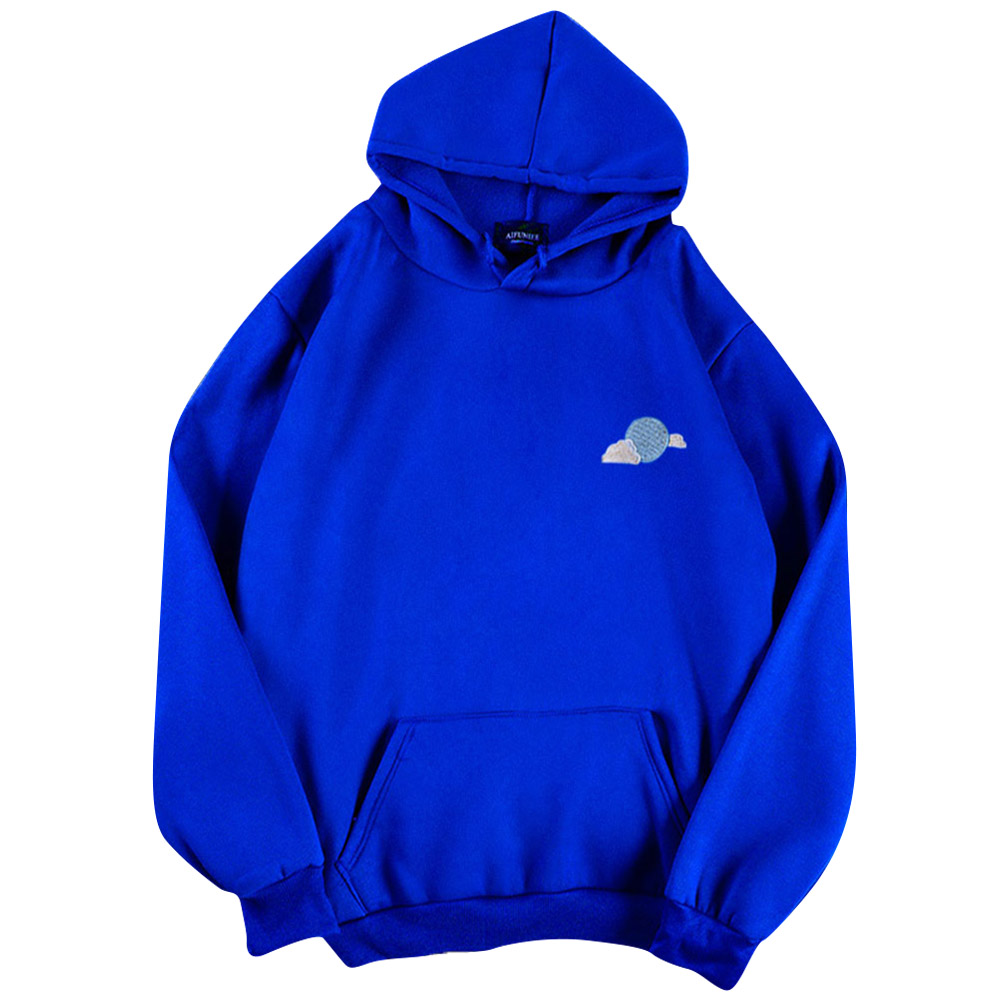 Men Women Hoodie Sweatshirt Thicken Velvet Loose Cloud Autumn Winter Pullover Tops Blue_XXXL