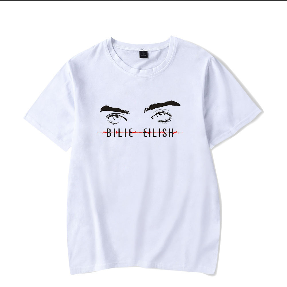 Men Women Summer Billie Eilish Pop Singer Ocean Eyes Printing Short Sleeve T-shirt B_S