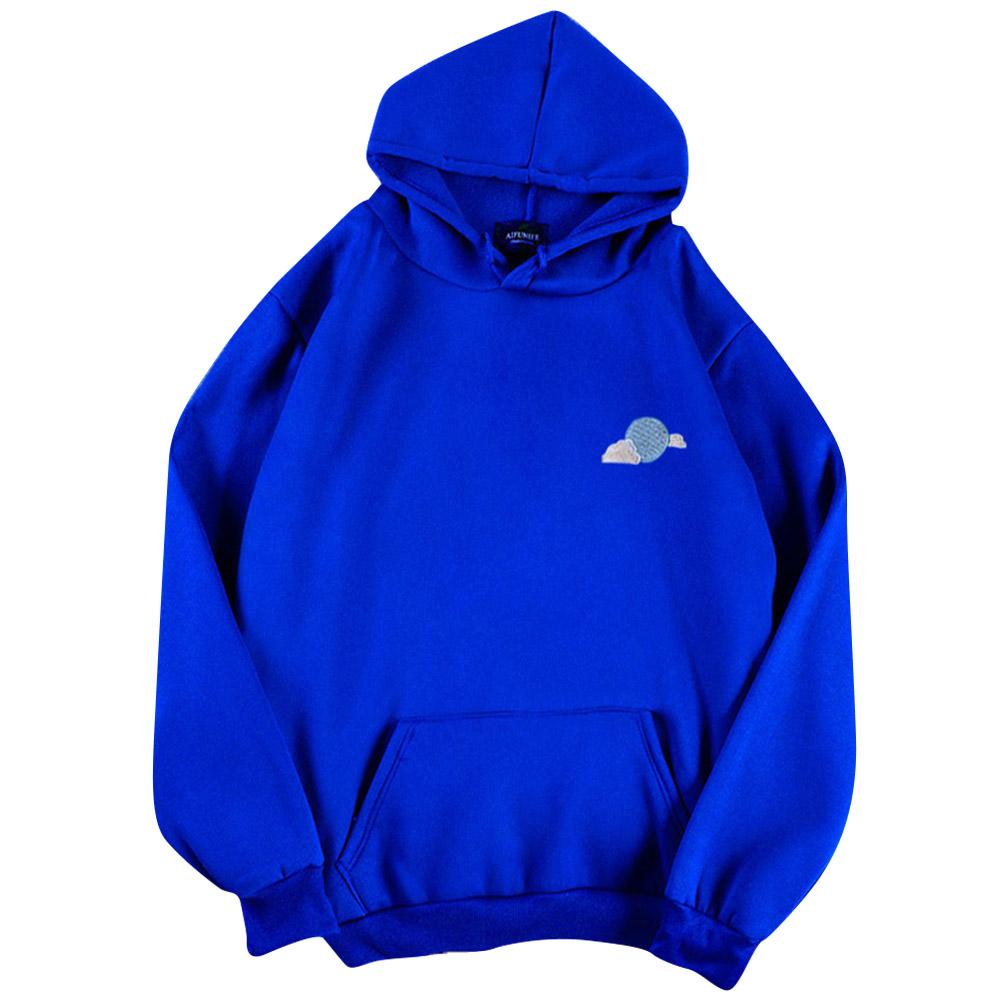 Men Women Hoodie Sweatshirt Thicken Velvet Loose Cloud Autumn Winter Pullover Tops Blue_L