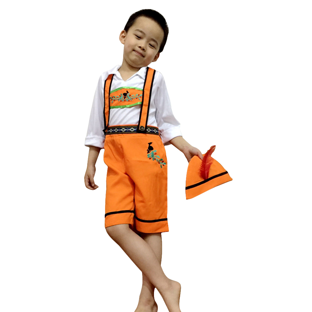 Children Girl Boy Oktoberfest Waiter Waitress Costume Beer Festival Suit Orange boy_XL