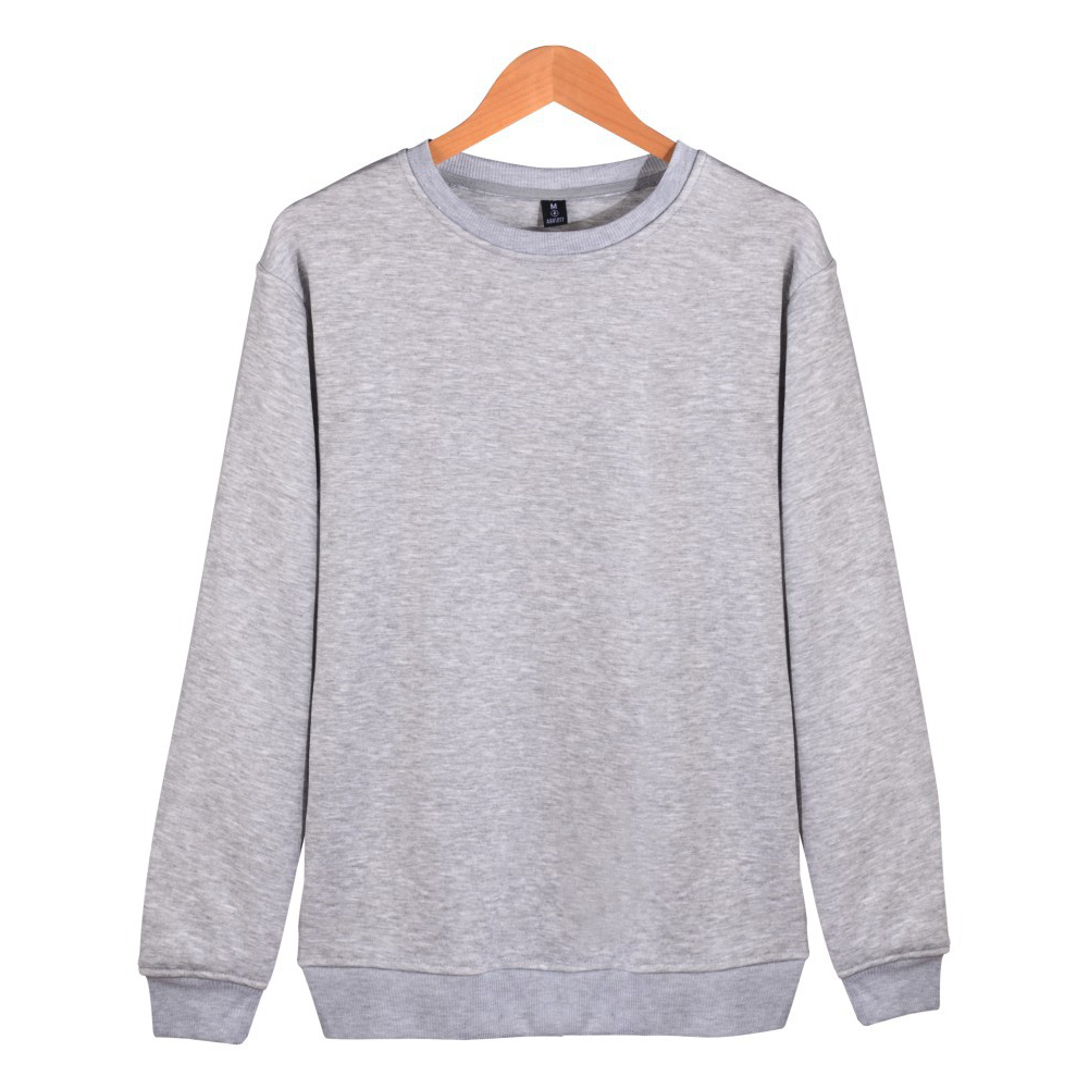 Men Solid Color Round Neck Long Sleeve Sweater Winter Warm Coat Tops gray_M