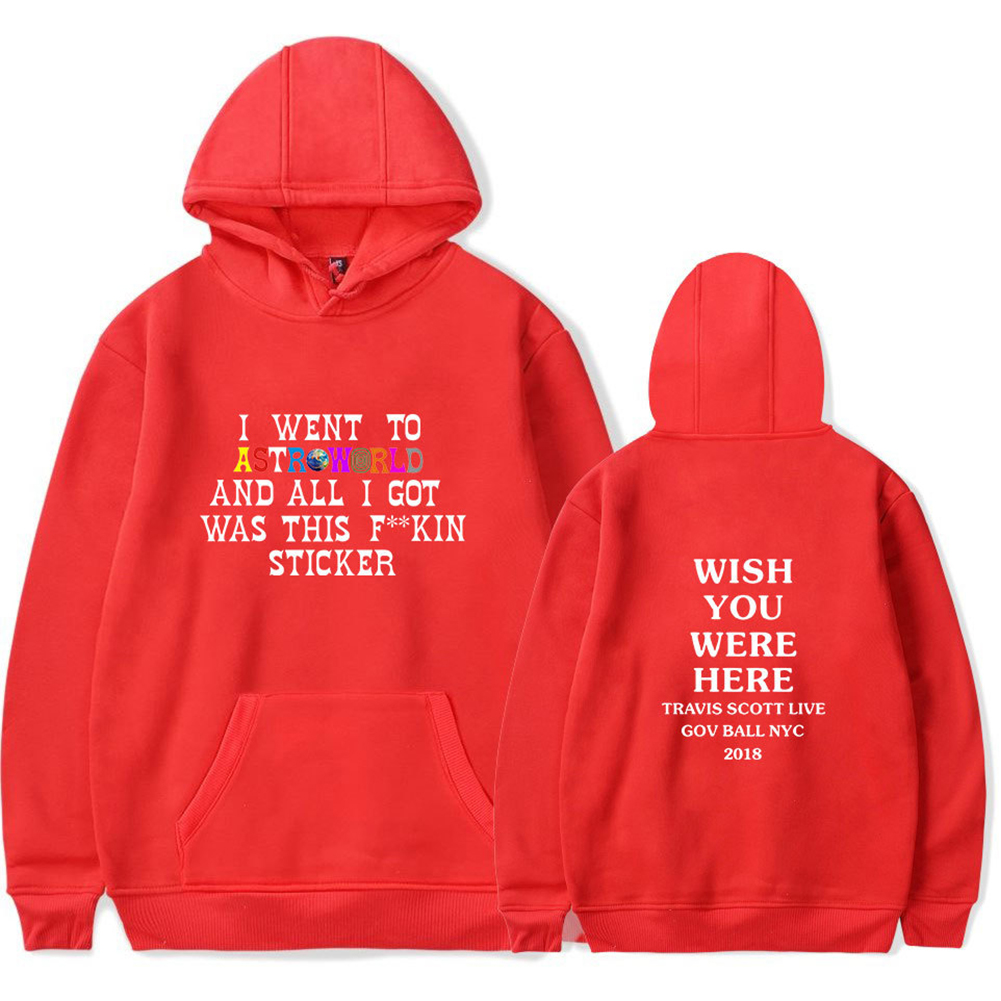 Travis Scotts ASTROWORLD Long Sleeve Printing Hoodie Casual Loose Tops Hooded Sweater A red_2XL