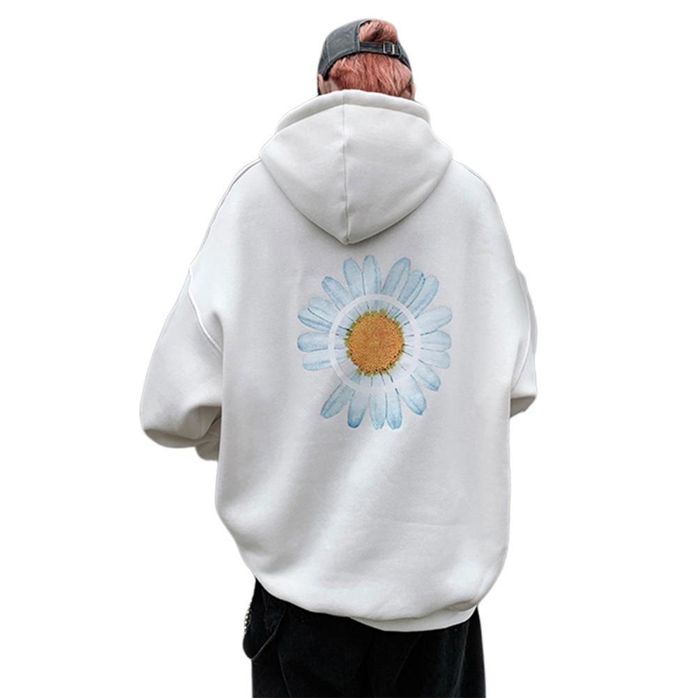 Men Women Hoodie Sweatshirt Chrysanthemum Printing Simple Unisex Pullover Tops White_L