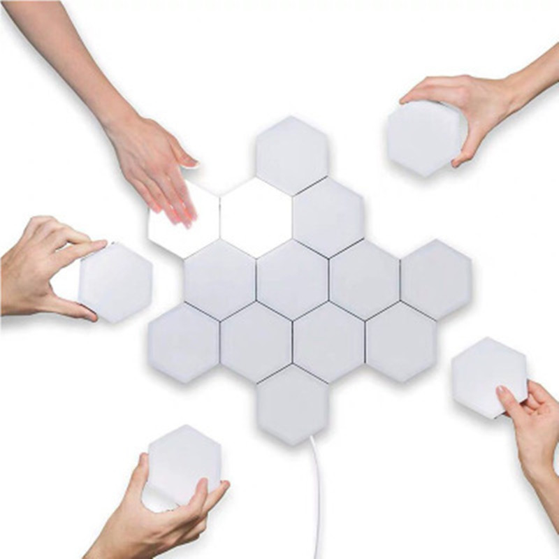 LED 100-240V Honeycomb Modular Assembly Wall Lamp Decoration White light_Without power