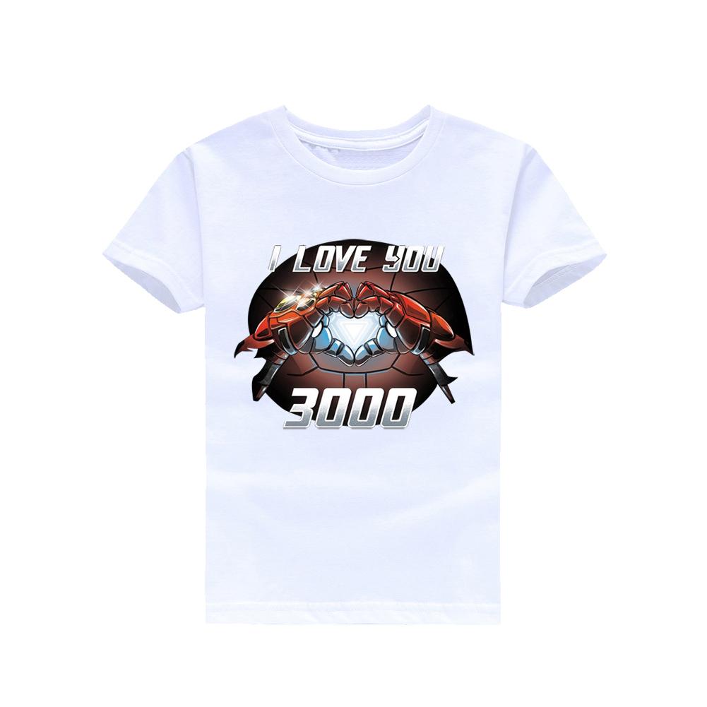 Boys Girl Cute I LOVE YOU 3000 Printing Shirt Unisex Fashion Short Sleeve T-shirt