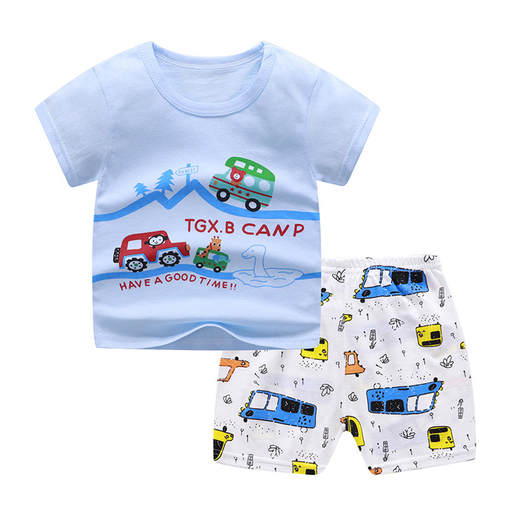 2 Pcs/set Children's Suit Cartoon Short-sleeve Shorts Set for 0-4 Years Old Kids 4_80