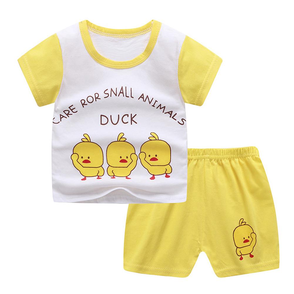2 Pcs/set Children's Suit Cartoon Short-sleeve Shorts Set for 0-4 Years Old Kids 1 _80