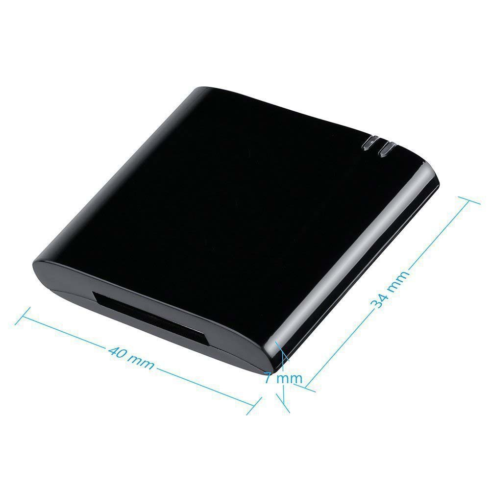For 30pin iPhone iPod to Stereo Sounddock Bluetooth Audio Music Receiver Adapter black