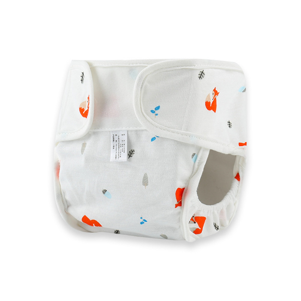 Baby Cute Patterns Diaper Pants Cloth Diaper Washable Leak-proof Diapers Red fox_80#