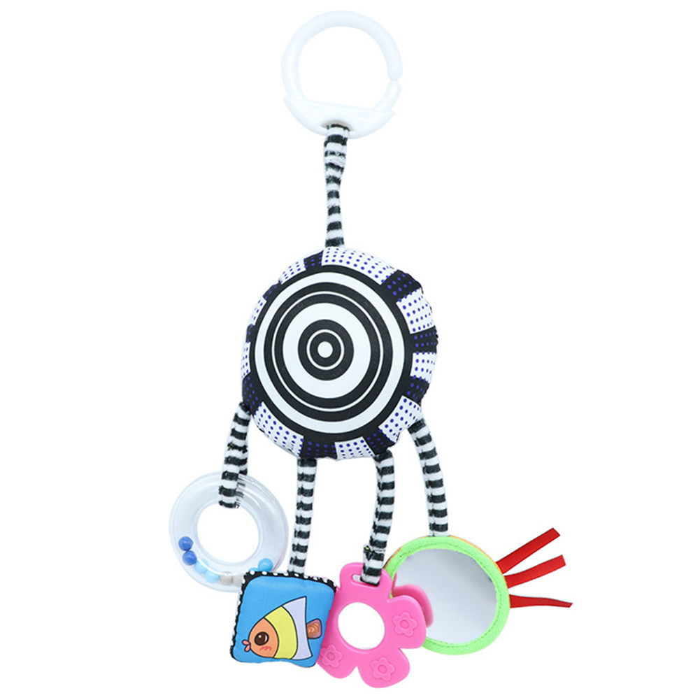 Infant Black and White Cloth Hanging Rattle Baby Bed Trailer Clip Toys Black and white
