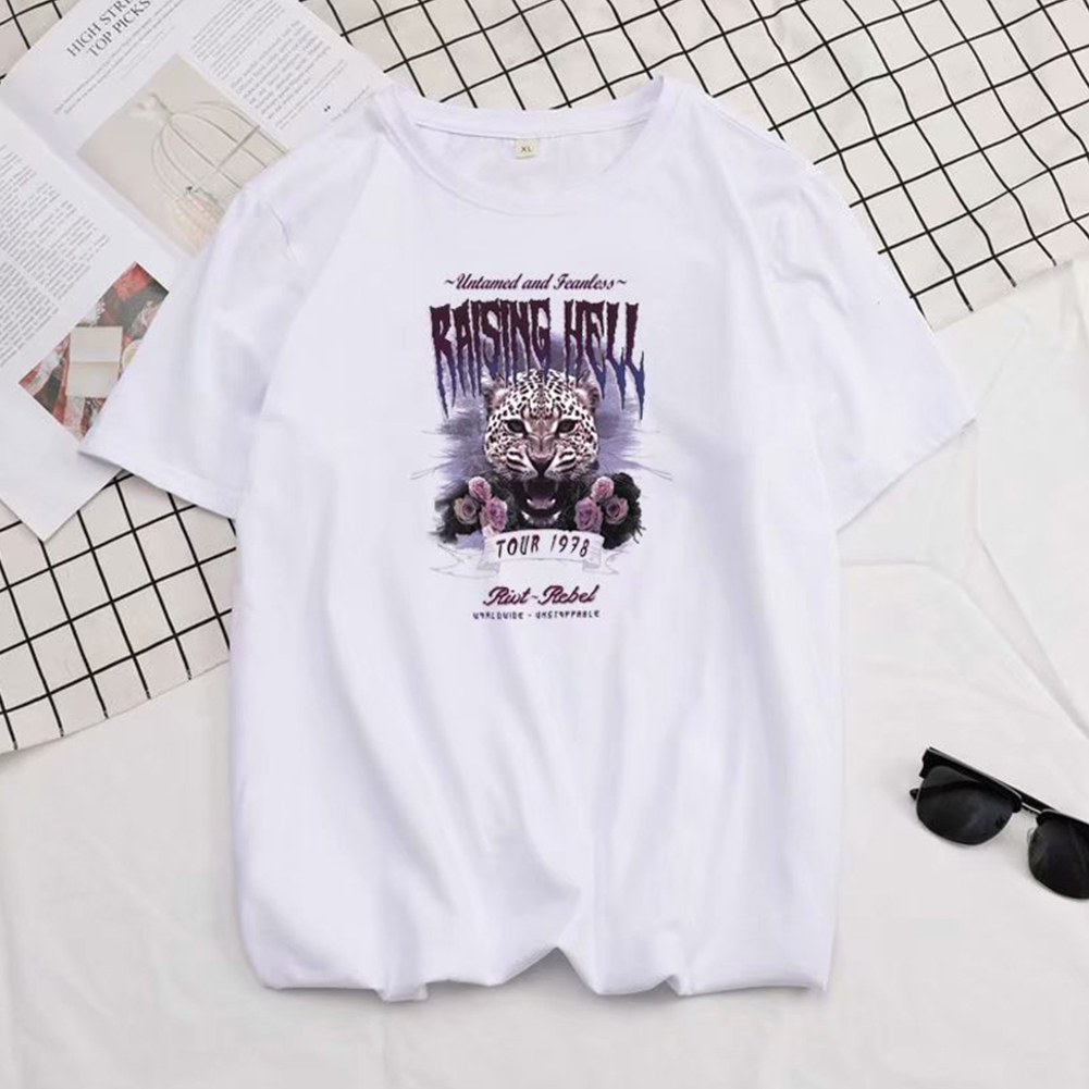 Short Sleeves and Round Neck Shirt Leisure Pullover Top with Animal Pattern Decorated 6101 white_L