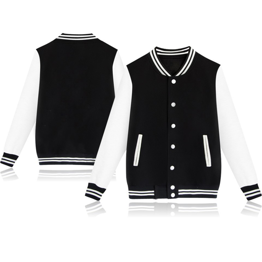 Women Men Couple Baseball Sport Casual Winter Single Breasted Fleece Jacket  black_L