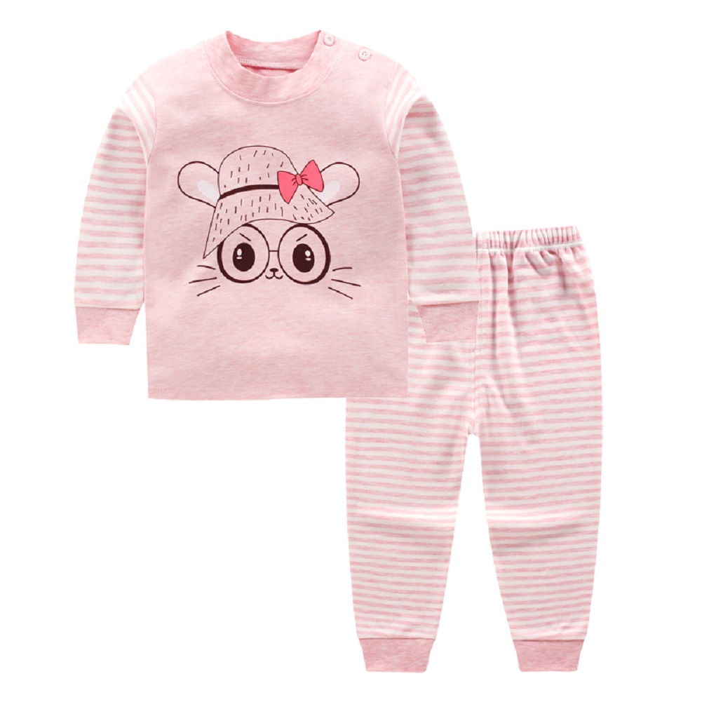 2Pcs/Set Boy Girl Baby Children Cut Cartoon Stripe Long Sleeve Round Collar Top Trousers Suit Pink big eyes rabbit_73cm