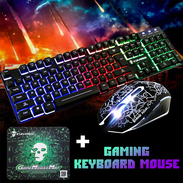 USB Office Rainbow Backlight Keyboard Mouse Set Mechanical for PC Laptop Desktop Gaming Stylish Ergonomic Combo
