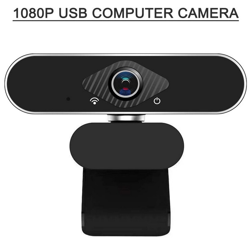 HD 1080P Computer Camera USB Webcam with Built-in Microphone 1080P black