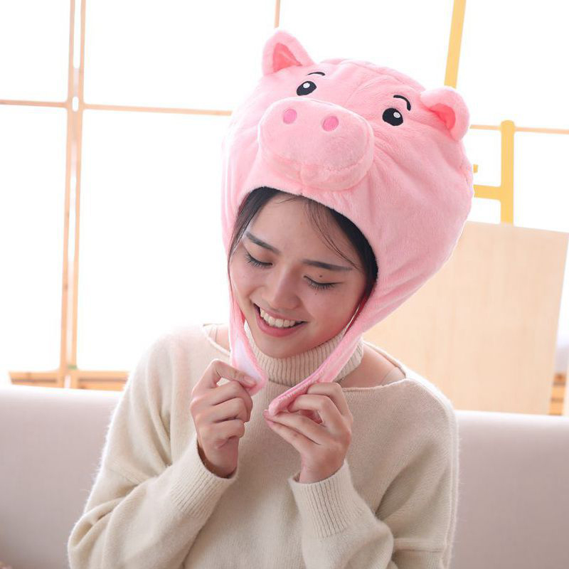 Pink Pig Shaped Cute Short Plush Headwear Photo Props Pig Hat Pink