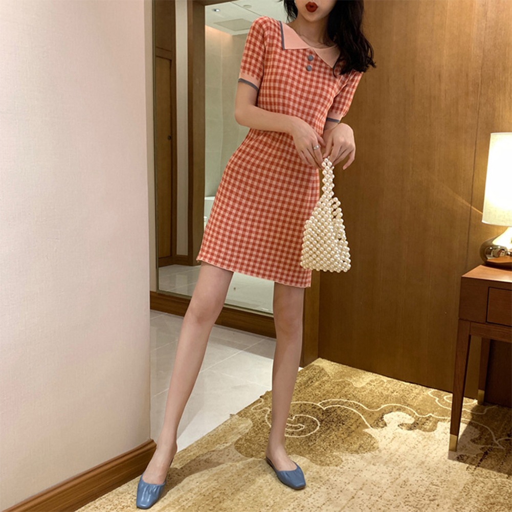 Female Elegant Plaid Slim Dress Lapel Collar Sweet Dress  pink stripes _One size