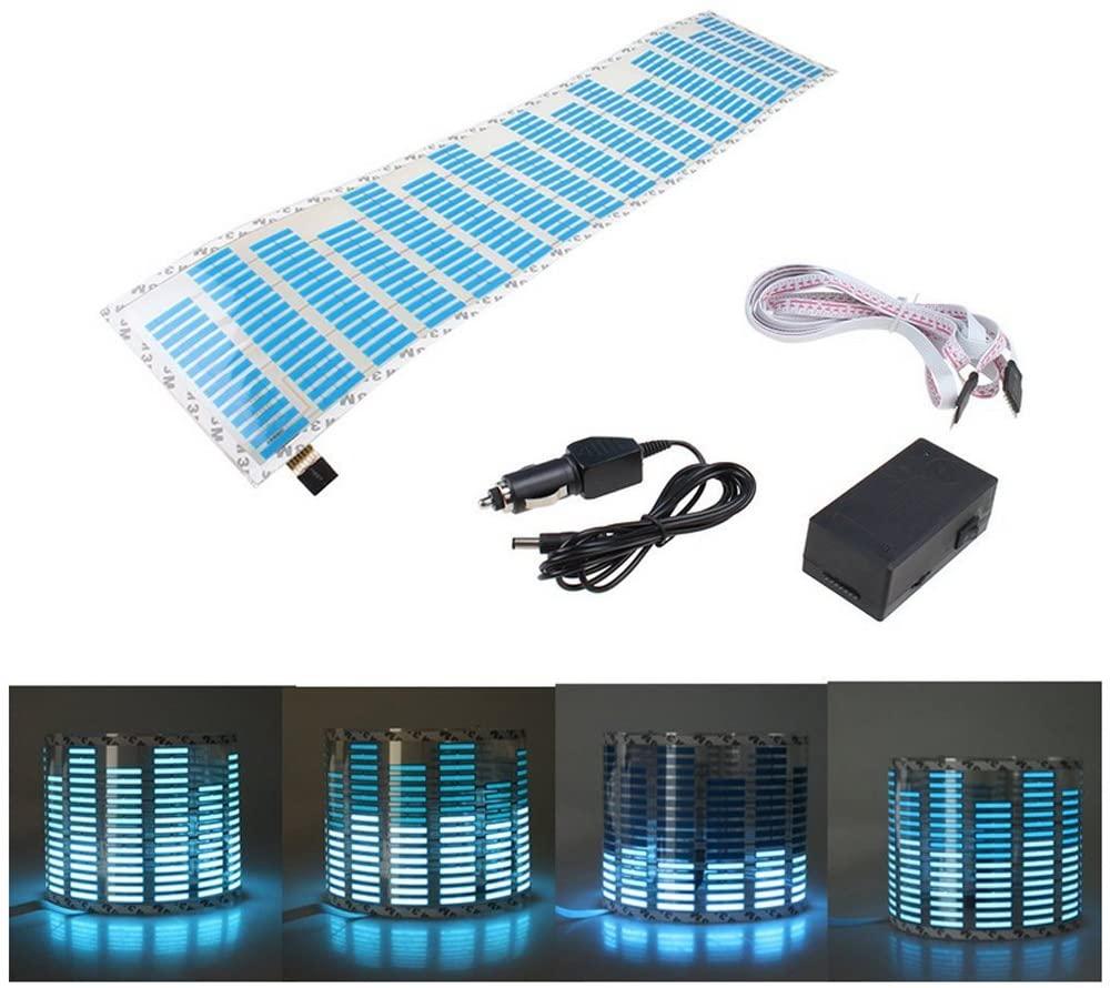 Sound Music Activate Sensor Car Auto Sticker Led Light Equalizer Glow Music Rhythm Light Blue_45*11CM