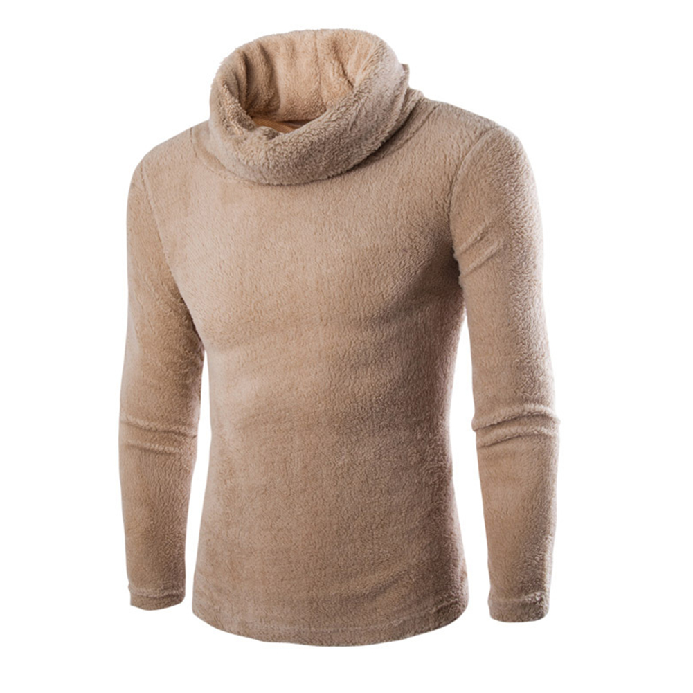 Slim Pullover Long Sleeves and High Collar Sweater Solid Color Base Shirt for Man Khaki_L