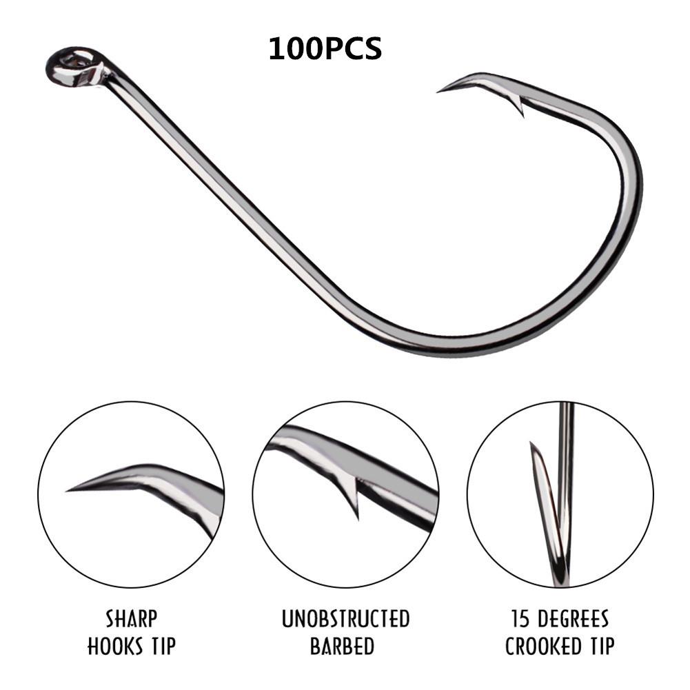 100pcs Fish Jig Hooks with Hole Fishing High Strength Carbon Steel Long Handle Hooks  1/0# (100 pcs/pack)