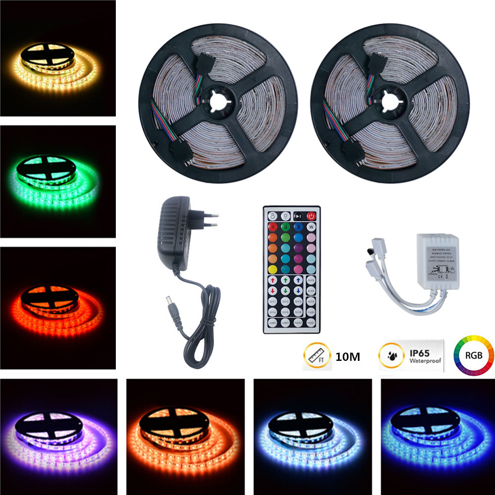 10M RGB LED Waterproof Strip Lights+44Keys Remote Control+Adapter European regulations