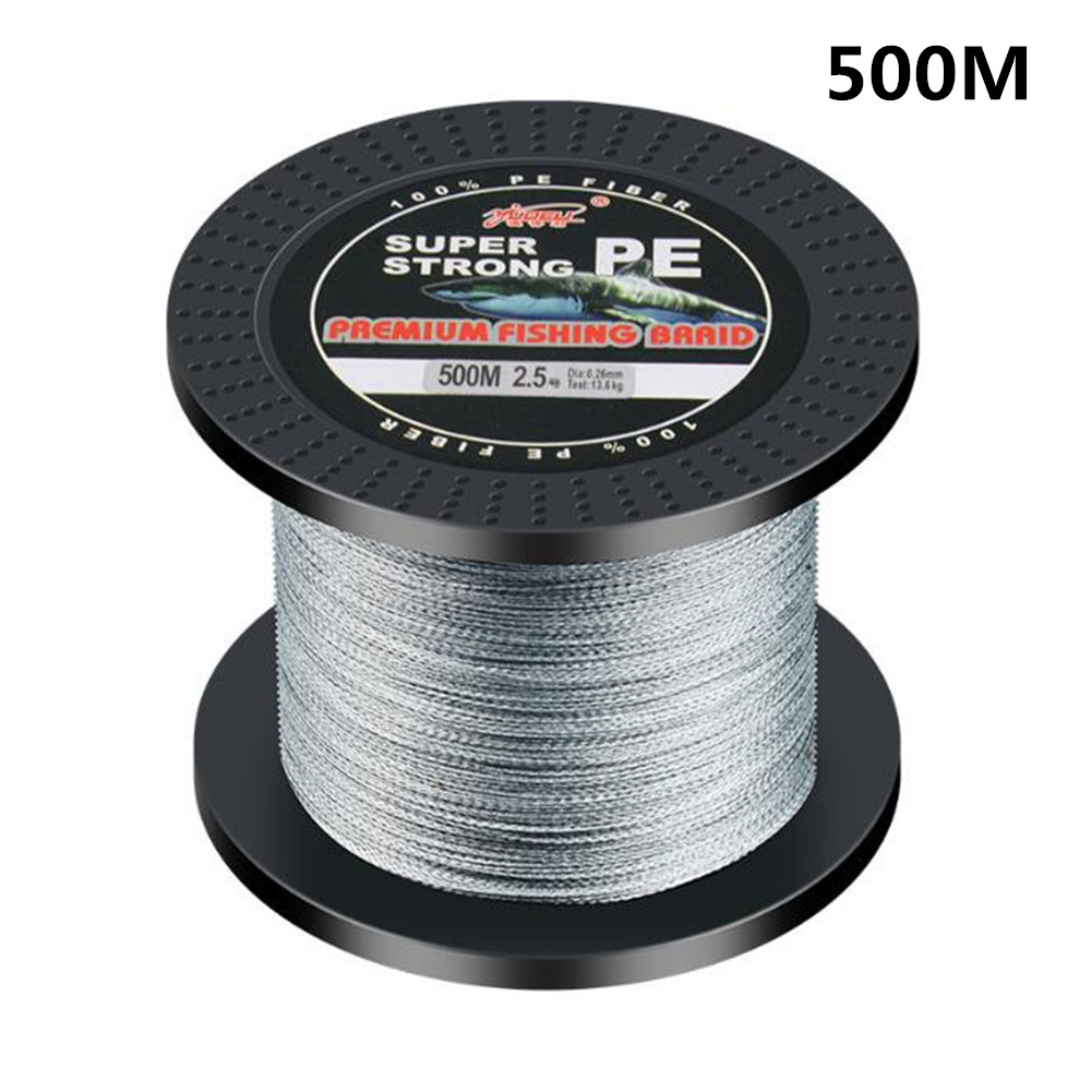 500M PE Braided Fishing Line 4 Strands Multifilament Fishing Line Perfect Fishing Accessory gray