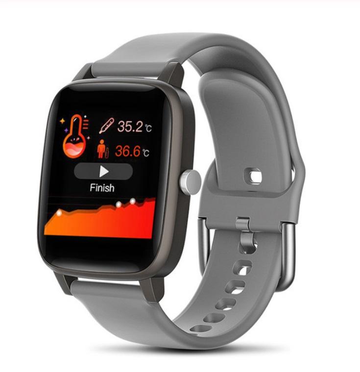 T98 Smart Watch Body Temperature Heart Rate Blood Pressure Monitor Sports Tracker Fitness Men Women Smart Bracelet Smartwatch gray