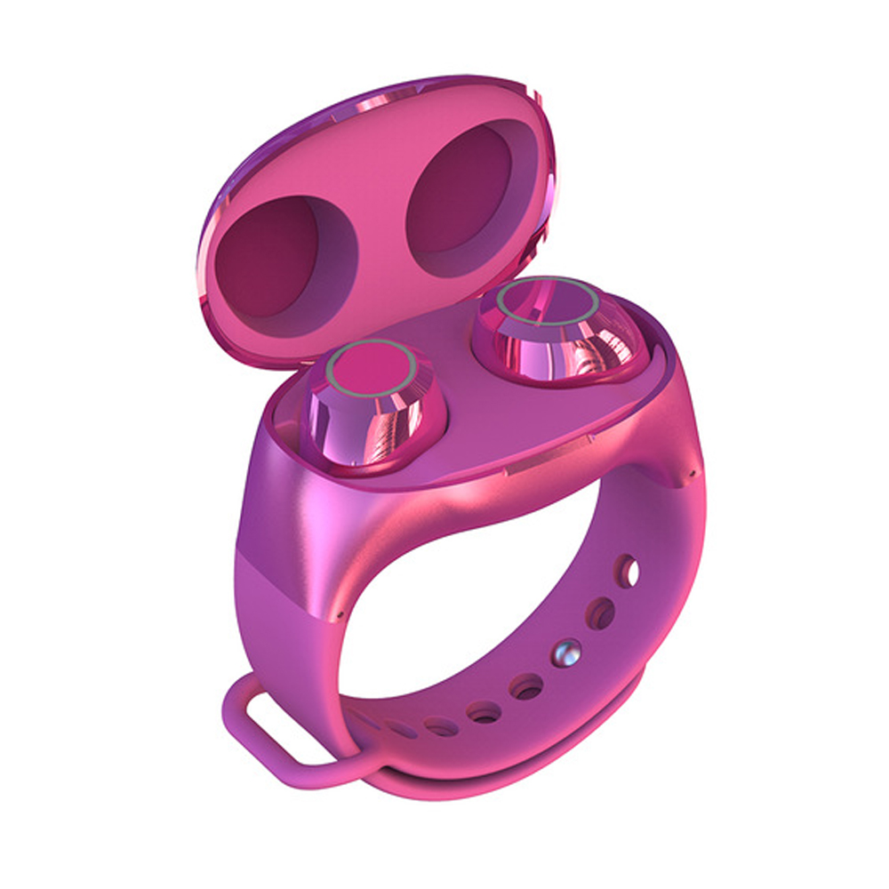 Wrist Type Lightweight Watch Design Charge Case BT 5.0 In-ear TWS Earbud HeadsetTWS Bluetooth 5.0 Headset Wireless Earphone red
