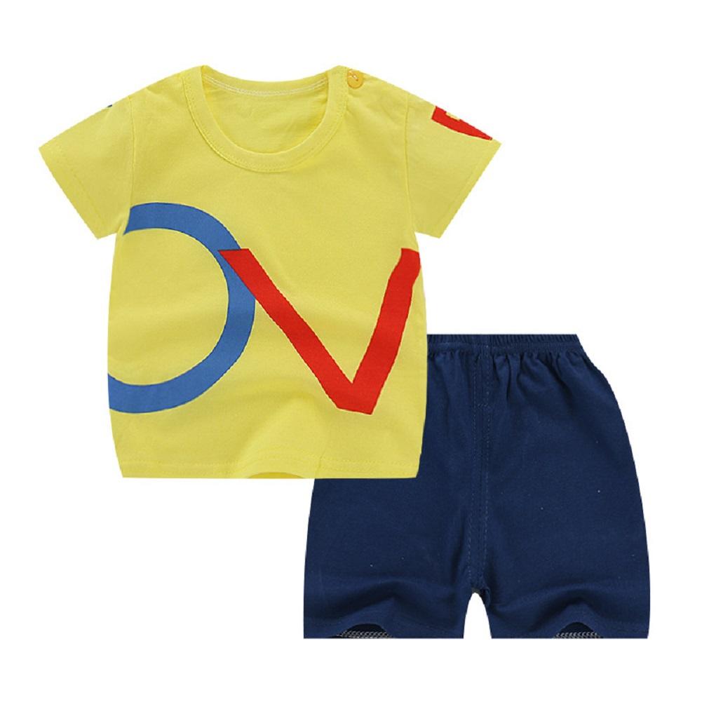 [Indonesia Direct] 2pcs/set Unisex Children Home Suit Short Sleeve Tops+ Shorts Home Wear Suit OV Letters_80
