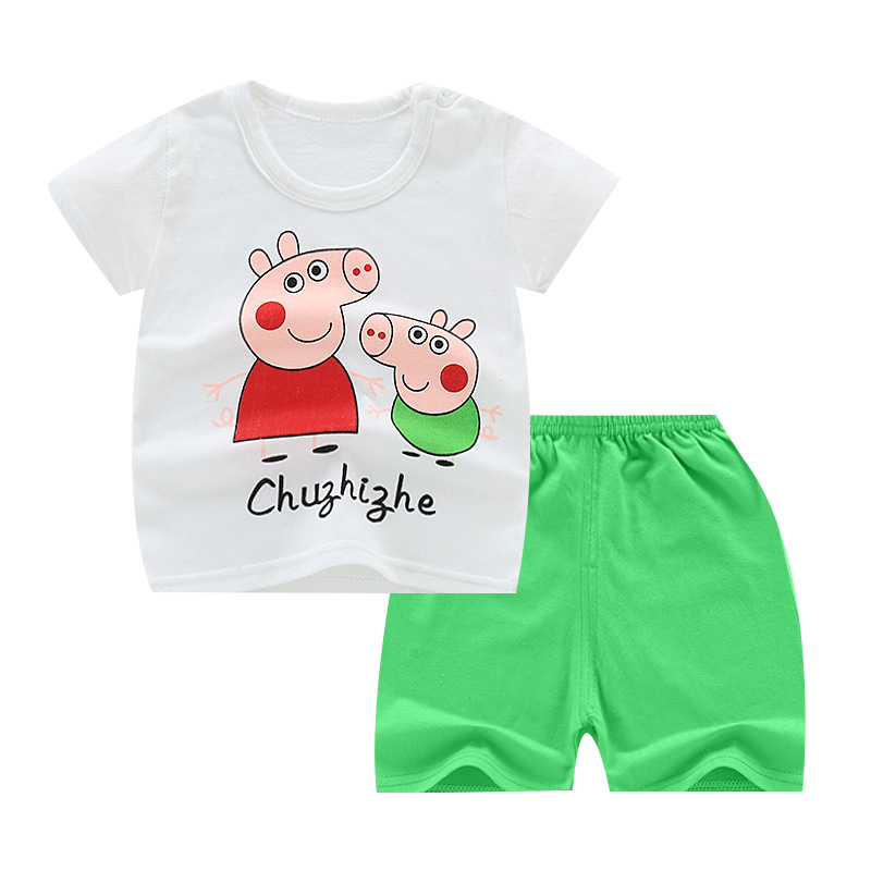 [Indonesia Direct] 2 Pcs/set Girls Boys Baby Cartoon Printing Short Sleeve Tops+Shorts Summer Suit 2 pigs_55