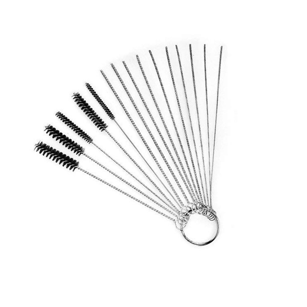 [Indonesia Direct] 15 Pcs/set Nylon Brushes Set for Drinking Straws / Glasses / Keyboards / Jewelry Cleaning Brushes Clean Tools black_15PCS/SET