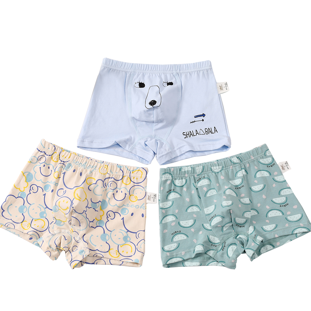 3 Pcs/set Boys Underpants Cotton Boxer Shorts for 3-14 Years Old Kids B601_3XL