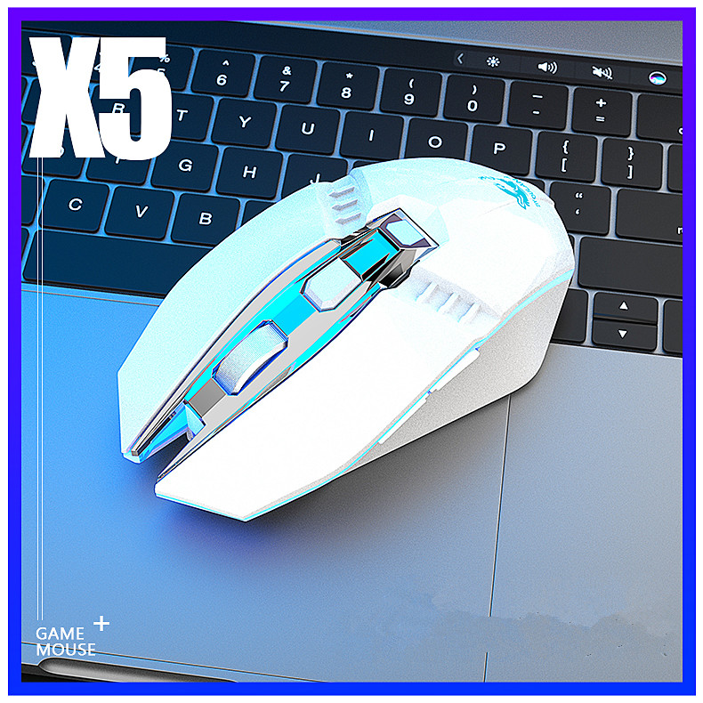 X5 Wireless Gaming Mouse Rechargeable 500mAh Battery Bluetooth 3.0+5.0+2.4G Wireless Optical Mice Adjustable DPI Levels for Laptop PC Mac white
