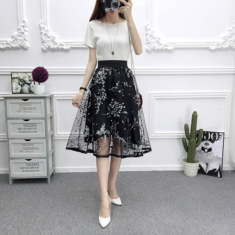 [Indonesia Direct] Women Summer Fashion Mesh Printing High Waist A-line Tutu Skirt black_One size