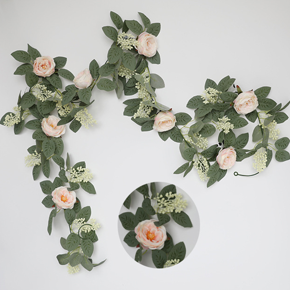 Silk Flower Artificial  Flower Rattan Wall-mounted Decorative Ornaments For Wedding Background Light pink