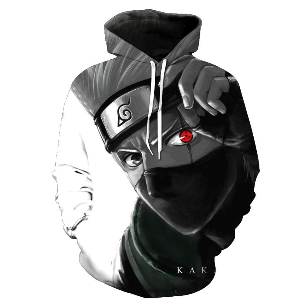 Unisex 3D Digital Stylish Cartoon Print Hooded Baseball Sweatshirts Fashion Pullover Tops Kakashi_XL