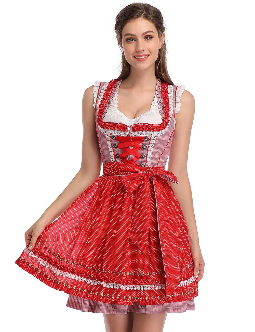 [EU Direct] KOJOOIN Women's German Dirndl Dress Costumes Set for Bavarian Oktoberfest Halloween Carnival