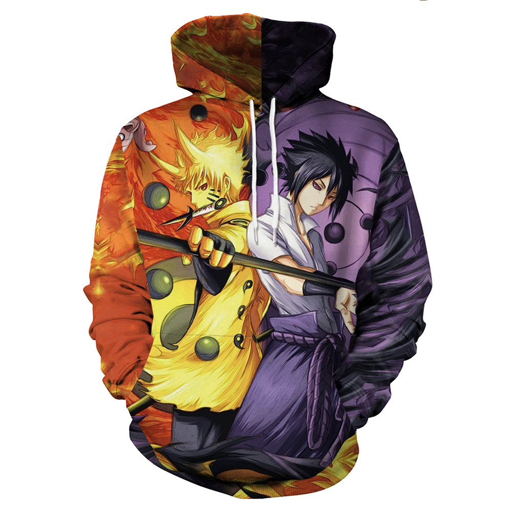 Unisex Naruto Comics Related Products 3D Printing Fashion Hoody Naruto Sasuke_M