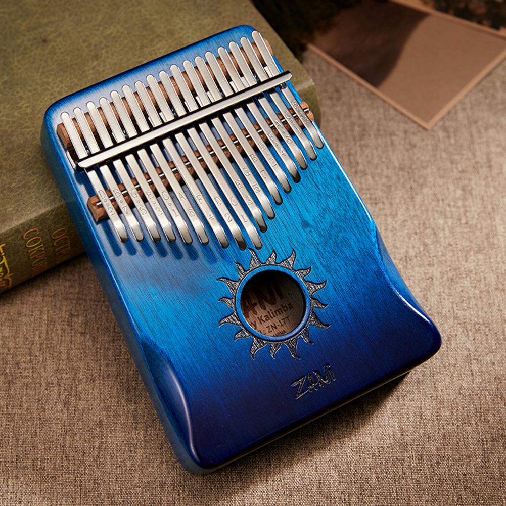 17-tone Kalimba Mahogany Core Thumb Piano with Tuning Hammer Gradient blue_Zani Helios
