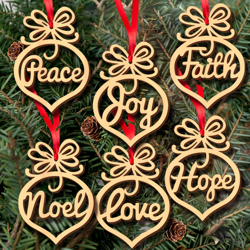 [EU Direct] Wooden Christmas Decoration Small Hollow Exquisite Pendant English Series