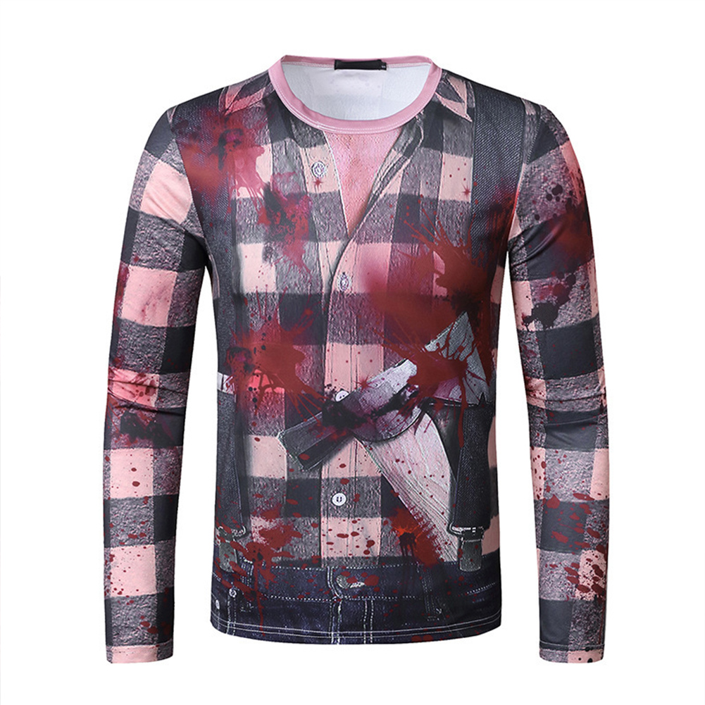 Men Long Sleeve T Shirt 3D Digital Printing Horror Theme Round Neck T-shirt for Halloween plaid_S