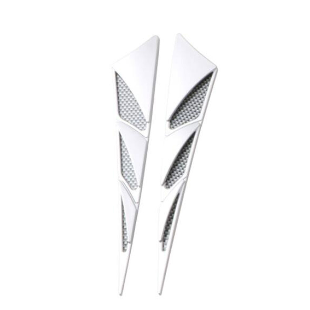 1 Pair Car Exterior Decoration Car Hood Stickers Black Universal Side Air Intake Flow Vent Cover Decorative Car-styling; silver white
