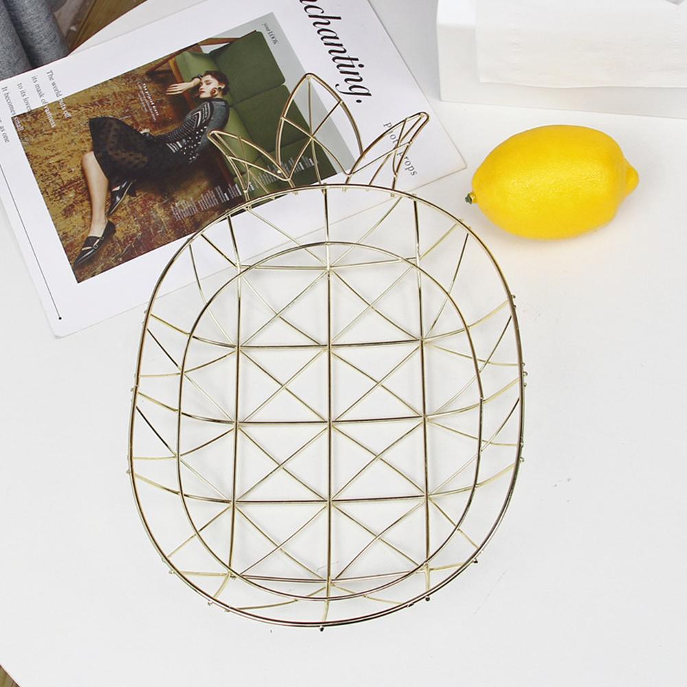 Fruit Storage Basket Iron Pineapple Shape Tray Nordic Style Dessert Snack Plate Gold