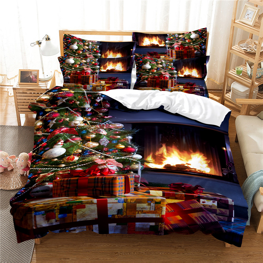 2Pcs/3Pcs Full/Queen/King Quilt Cover +Pillowcase 3D Digital Printing Christmas Series Beeding Set King