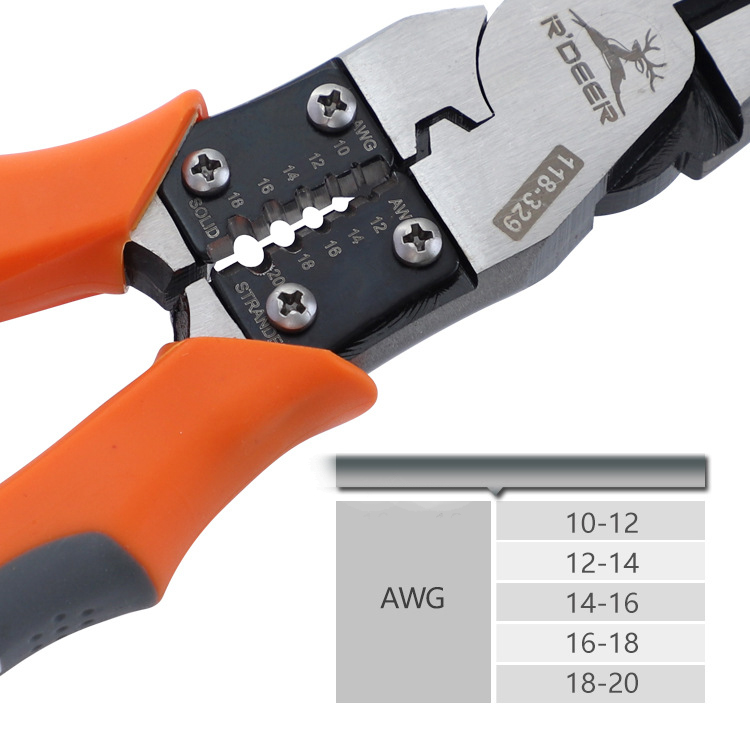 4 in 1 Electrician Pliers Crimping Tool 9in Wire Stripper Cable Cutter Combination Pliers Multifunctional Cutting Tools Needle-nose pliers