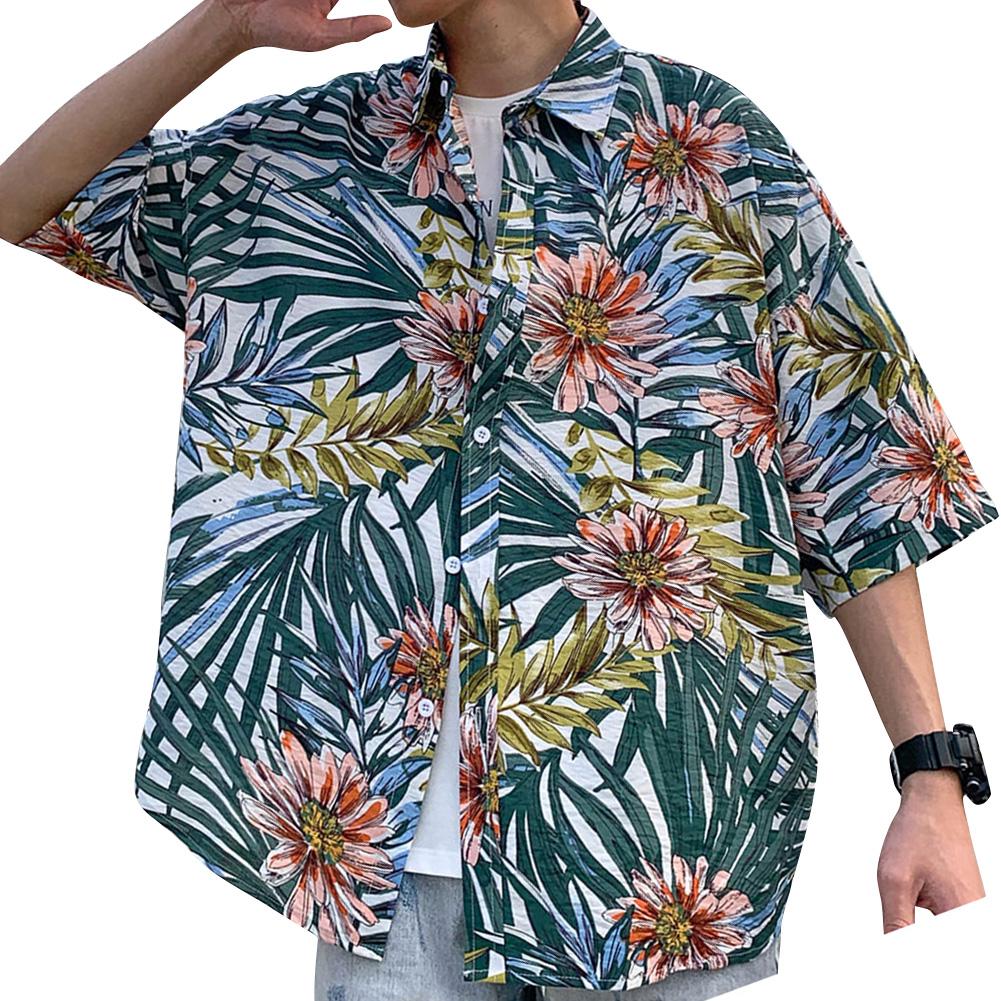 Women Men Leisure Shirt Personality Floral Printing Short Sleeve Retro Hawaii Beach Shirt Top Summer C109 #_L