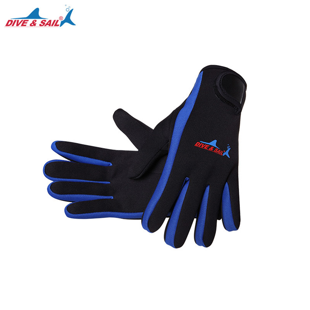 1.5mm Swimming Diving Neoprene Glove With Velcro For Winter Swimming Warm Anti-slip Gloves blue_M