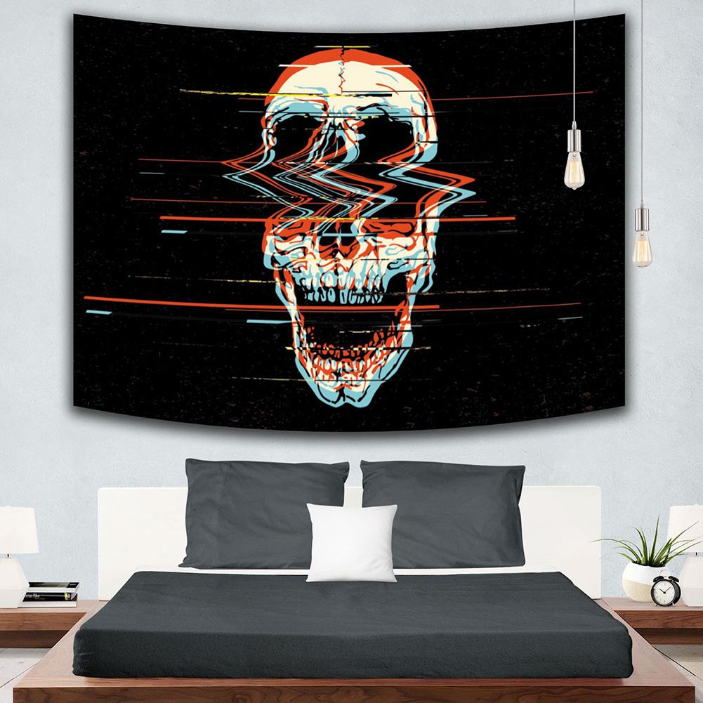 Creative Couple Skull Painting Tapestry Skeleton Yoga Mat Blanket Mandala Wall Hanging 1#_Brushed polyester 150cm*130cm